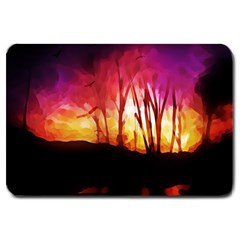 Fall Forest Background Large Doormat  by Nexatart