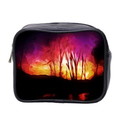 Fall Forest Background Mini Toiletries Bag 2 Side by Nexatart