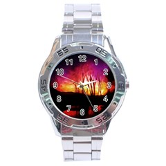 Fall Forest Background Stainless Steel Analogue Watch by Nexatart