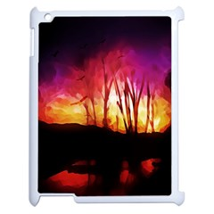 Fall Forest Background Apple Ipad 2 Case (white) by Nexatart