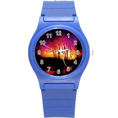 Fall Forest Background Round Plastic Sport Watch (s) by Nexatart