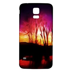Fall Forest Background Samsung Galaxy S5 Back Case (white) by Nexatart