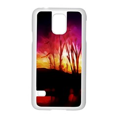 Fall Forest Background Samsung Galaxy S5 Case (white) by Nexatart