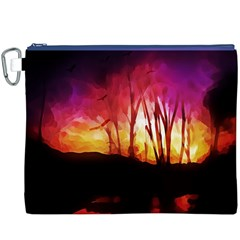Fall Forest Background Canvas Cosmetic Bag (XXXL)
