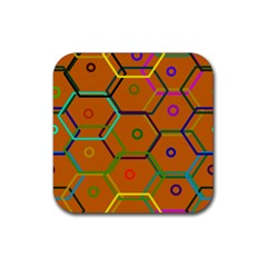 Color Bee Hive Color Bee Hive Pattern Rubber Square Coaster (4 Pack)  by Nexatart