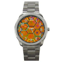 Color Bee Hive Color Bee Hive Pattern Sport Metal Watch by Nexatart
