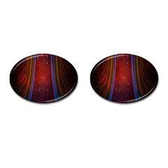 Bright Background With Stars And Air Curtains Cufflinks (oval) by Nexatart