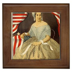 Betsy Ross Author Of The First American Flag And Seal Patriotic Usa Vintage Portrait Framed Tiles by yoursparklingshop
