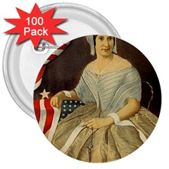 Betsy Ross Author Of The First American Flag And Seal Patriotic Usa Vintage Portrait 3  Buttons (100 Pack)  by yoursparklingshop