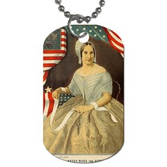 Betsy Ross Author Of The First American Flag And Seal Patriotic Usa Vintage Portrait Dog Tag (one Side) by yoursparklingshop