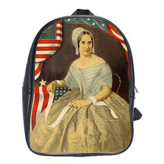 Betsy Ross Author Of The First American Flag And Seal Patriotic Usa Vintage Portrait School Bags(large)  by yoursparklingshop