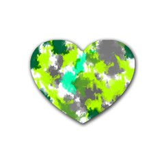 Abstract Watercolor Background Wallpaper Of Watercolor Splashes Green Hues Rubber Coaster (heart)  by Nexatart
