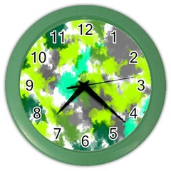 Abstract Watercolor Background Wallpaper Of Watercolor Splashes Green Hues Color Wall Clocks by Nexatart