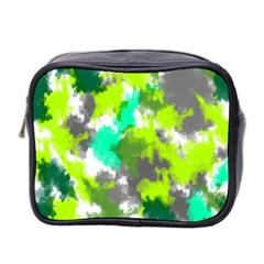 Abstract Watercolor Background Wallpaper Of Watercolor Splashes Green Hues Mini Toiletries Bag 2 Side by Nexatart
