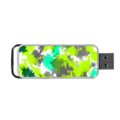 Abstract Watercolor Background Wallpaper Of Watercolor Splashes Green Hues Portable Usb Flash (two Sides) by Nexatart
