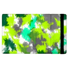 Abstract Watercolor Background Wallpaper Of Watercolor Splashes Green Hues Apple Ipad 3/4 Flip Case by Nexatart