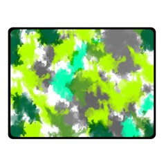 Abstract Watercolor Background Wallpaper Of Watercolor Splashes Green Hues Double Sided Fleece Blanket (small)  by Nexatart