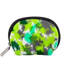 Abstract Watercolor Background Wallpaper Of Watercolor Splashes Green Hues Accessory Pouches (small)  by Nexatart
