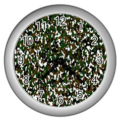 Camouflaged Seamless Pattern Abstract Wall Clocks (silver)  by Nexatart