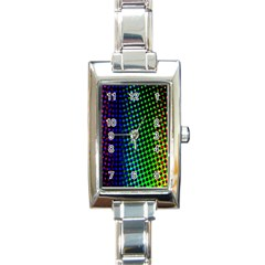 Digitally Created Halftone Dots Abstract Background Design Rectangle Italian Charm Watch by Nexatart