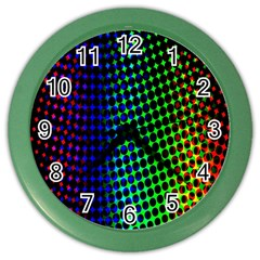Digitally Created Halftone Dots Abstract Background Design Color Wall Clocks by Nexatart