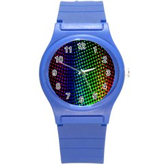 Digitally Created Halftone Dots Abstract Background Design Round Plastic Sport Watch (s) by Nexatart