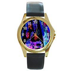 Grunge Abstract In Black Grunge Effect Layered Images Of Texture And Pattern In Pink Black Blue Red Round Gold Metal Watch by Nexatart