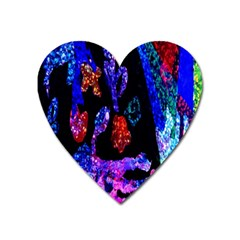 Grunge Abstract In Black Grunge Effect Layered Images Of Texture And Pattern In Pink Black Blue Red Heart Magnet by Nexatart