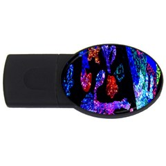 Grunge Abstract In Black Grunge Effect Layered Images Of Texture And Pattern In Pink Black Blue Red Usb Flash Drive Oval (4 Gb) by Nexatart