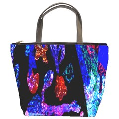 Grunge Abstract In Black Grunge Effect Layered Images Of Texture And Pattern In Pink Black Blue Red Bucket Bags by Nexatart