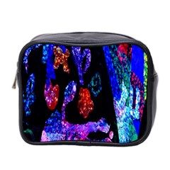 Grunge Abstract In Black Grunge Effect Layered Images Of Texture And Pattern In Pink Black Blue Red Mini Toiletries Bag 2 Side by Nexatart
