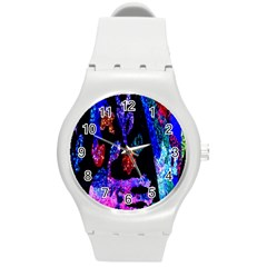 Grunge Abstract In Black Grunge Effect Layered Images Of Texture And Pattern In Pink Black Blue Red Round Plastic Sport Watch (m)