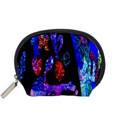 Grunge Abstract In Black Grunge Effect Layered Images Of Texture And Pattern In Pink Black Blue Red Accessory Pouches (small)  by Nexatart