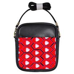 Red Bee Hive Background Girls Sling Bags by Nexatart