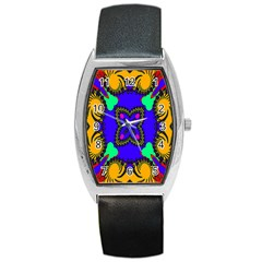 Digital Kaleidoscope Barrel Style Metal Watch by Nexatart