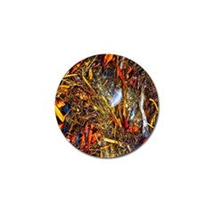 Abstract In Orange Sealife Background Abstract Of Ocean Beach Seaweed And Sand With A White Feather Golf Ball Marker by Nexatart