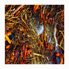 Abstract In Orange Sealife Background Abstract Of Ocean Beach Seaweed And Sand With A White Feather Medium Glasses Cloth (2-Side)