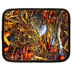 Abstract In Orange Sealife Background Abstract Of Ocean Beach Seaweed And Sand With A White Feather Netbook Case (xxl)  by Nexatart
