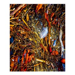 Abstract In Orange Sealife Background Abstract Of Ocean Beach Seaweed And Sand With A White Feather Shower Curtain 60  X 72  (medium)  by Nexatart