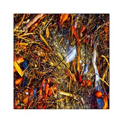 Abstract In Orange Sealife Background Abstract Of Ocean Beach Seaweed And Sand With A White Feather Acrylic Tangram Puzzle (6  X 6 ) by Nexatart