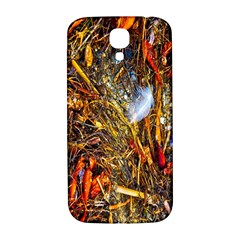 Abstract In Orange Sealife Background Abstract Of Ocean Beach Seaweed And Sand With A White Feather Samsung Galaxy S4 I9500/i9505  Hardshell Back Case by Nexatart