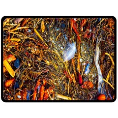 Abstract In Orange Sealife Background Abstract Of Ocean Beach Seaweed And Sand With A White Feather Double Sided Fleece Blanket (large)