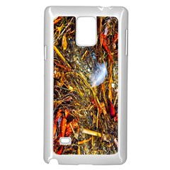 Abstract In Orange Sealife Background Abstract Of Ocean Beach Seaweed And Sand With A White Feather Samsung Galaxy Note 4 Case (white) by Nexatart