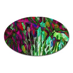 Bright Tropical Background Abstract Background That Has The Shape And Colors Of The Tropics Oval Magnet by Nexatart