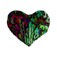 Bright Tropical Background Abstract Background That Has The Shape And Colors Of The Tropics Standard 16  Premium Flano Heart Shape Cushions by Nexatart