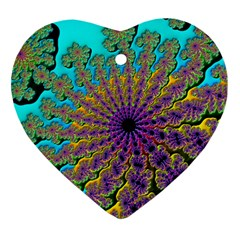 Beautiful Mandala Created With Fractal Forge Heart Ornament (Two Sides)