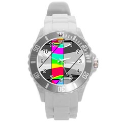 Colors Fadeout Paintwork Abstract Round Plastic Sport Watch (l) by Nexatart