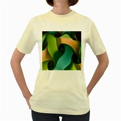Ribbons Of Blue Aqua Green And Orange Woven Into A Curved Shape Form This Background Women s Yellow T Shirt by Nexatart