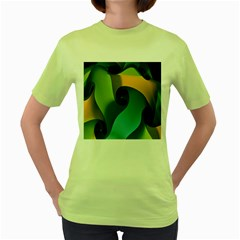 Ribbons Of Blue Aqua Green And Orange Woven Into A Curved Shape Form This Background Women s Green T Shirt by Nexatart
