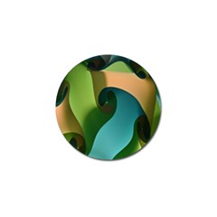 Ribbons Of Blue Aqua Green And Orange Woven Into A Curved Shape Form This Background Golf Ball Marker by Nexatart
